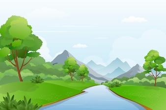 Illustration of River a Cross Mountains, Beautiful Riverside Landscape Scenery