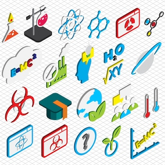 Illustration of science icons set concept in isometric graphic