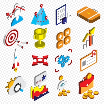 Illustration of seo optimization icons set concept in isometric graphic