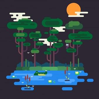 Illustration of Swamp at Night