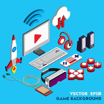 Illustration of technology concept in isometric graphic