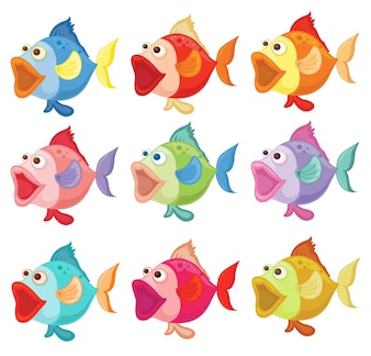 Illustration of the colorful fishes on a white background