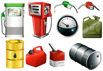Illustration of the different fuel cans on a white background