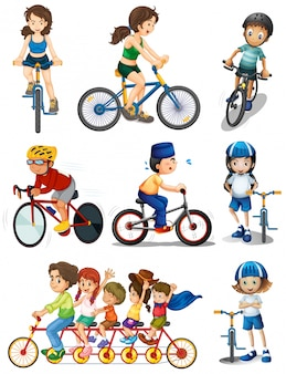 Illustration of the people biking on a white background