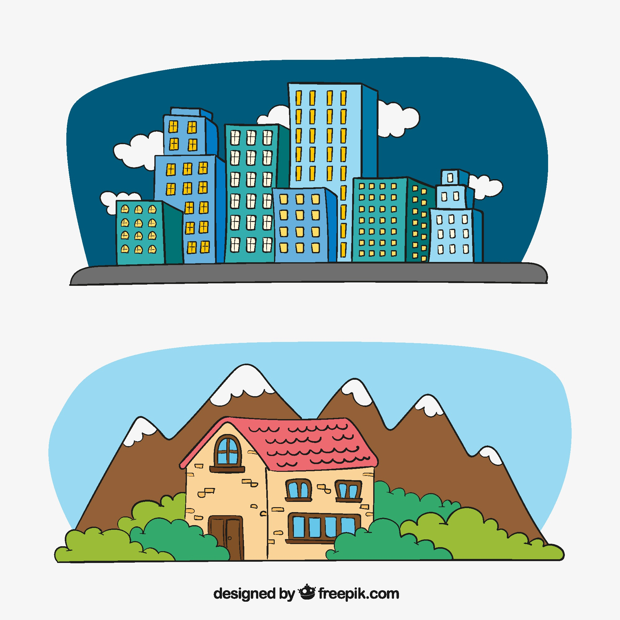 Illustrations of buildings in the city and house in the countryside