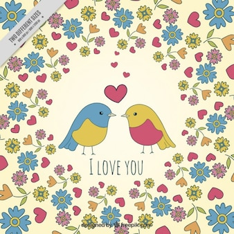 In love birds background with flowers