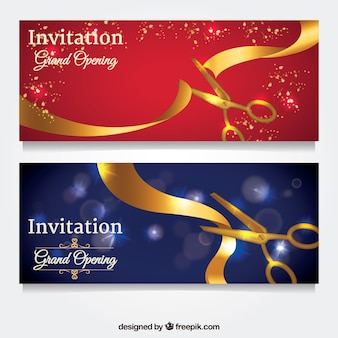 Inaugurration invitation with golden scissors and ribbon