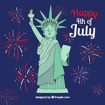 Independence day background with fireworks and statue of liberty