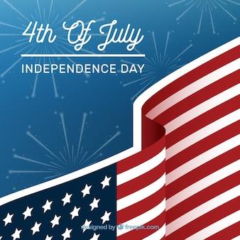 花火と花火を持つ独立記念日の背景