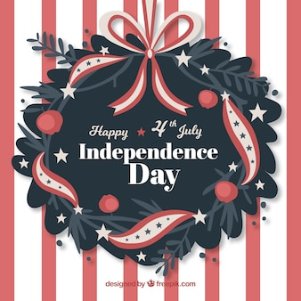 Independence day background with floral wreath