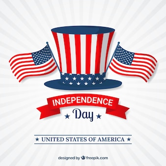 Independence day background with hat and flags