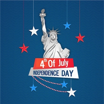 Independence day background with stars hanging and the statue of liberty