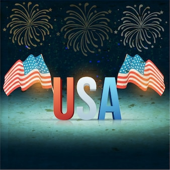 Independence day background with two flags in vintage style