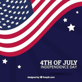 独立した日、波状の国旗を背景に