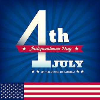 7月4日アメリカの旗を持つ青いバーストの背景に独立記念日