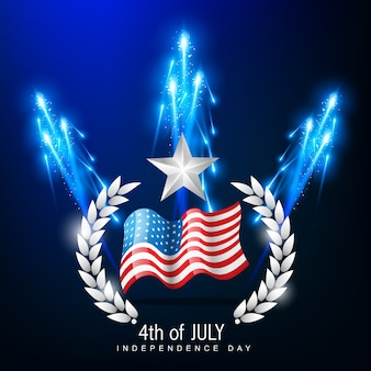 Independence day illustration with blue fireworks