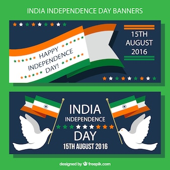 Independence day of india banners set