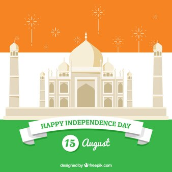 Independence day of india, taj mahal and flag's colors