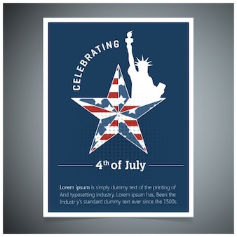 Independence day poster with statue of liberty and star