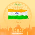 India independence background with city and watercolor flag