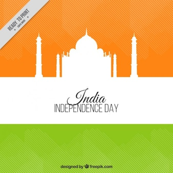 India independence day background with a taj mahal silhouette