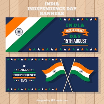 India independence day banners with flags