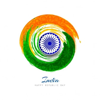 India republic day, circular watercolors