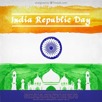 India republic day flag watercolor background