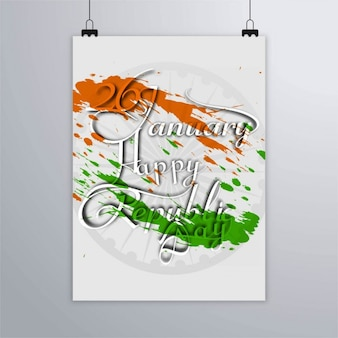 India republic day, poster with paint splatters