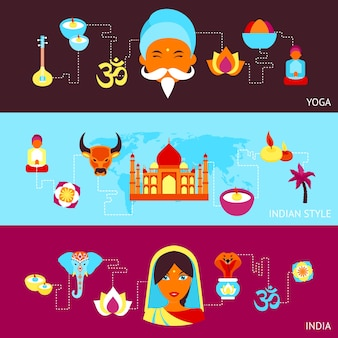 India travel culture religion yoga style symbols banner set isolated vector illustration