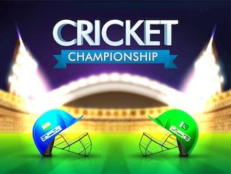 India Vs Pakistan Cricket Match concept with batsman helmets on shiny stadium background.