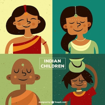 Indian children illustration pack