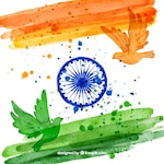 Indian flag background and watercolor dove