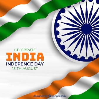 独立記念日のために揺れるインドの旗の背景