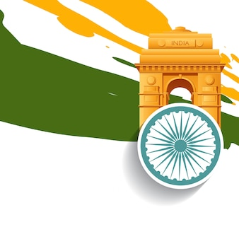 Indian flag design with india gate, dehli