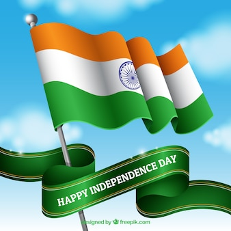 空を振るインドの旗