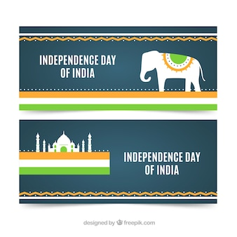 Indian independence banners with elephant and taj mahal