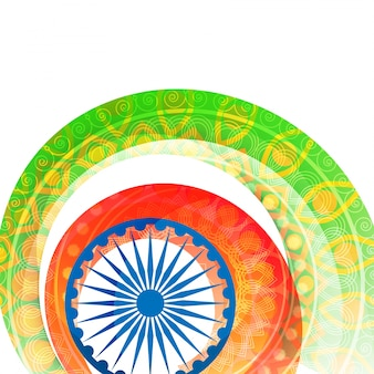 Indian Independence Day background with floral design decorated flag colors stripes and Ashoka Wheel or Chakra.