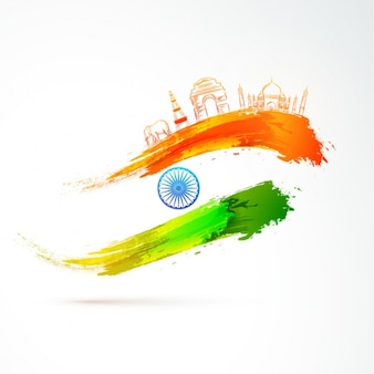 Indian republic day background with abstract flag and decorative items