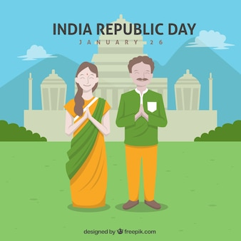 Indian republic day background with happy couple in flat design