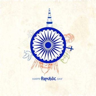 Indian republic day background with representative elements