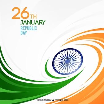 波状の形でインド共和国の日の背景