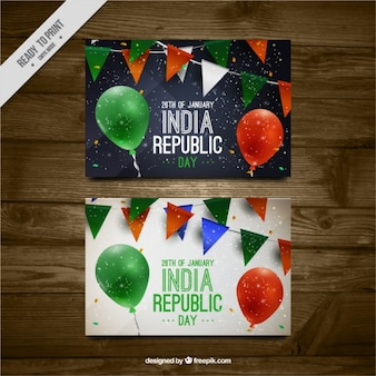Indian republic day greeting card with balloons and garlands