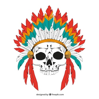 Indian skull background with feathers