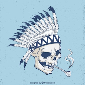 Indian skull background with pipe
