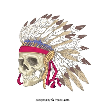 Indian skull with decorative feathers