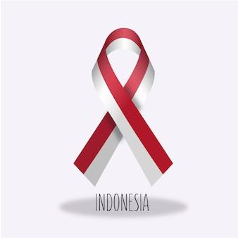 Indonesia flag ribbon design