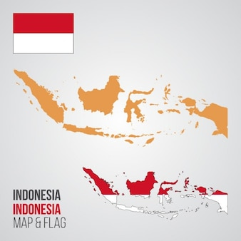 Indonesia map and flag