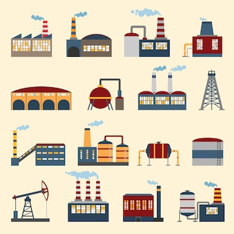 Industrial building factories and plants icons set isolated vector illustration.
