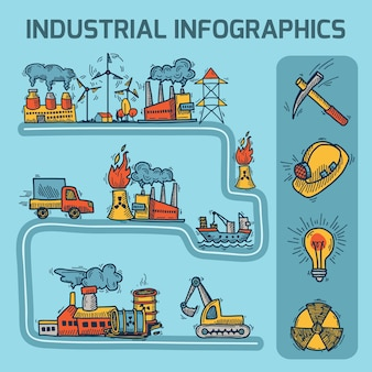Industrial sketch infographic set
